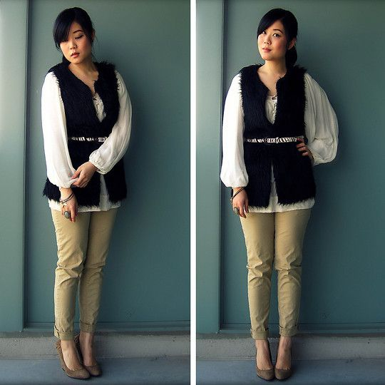 khaki outfit ideas women 5 - - I would choose another material for the vest