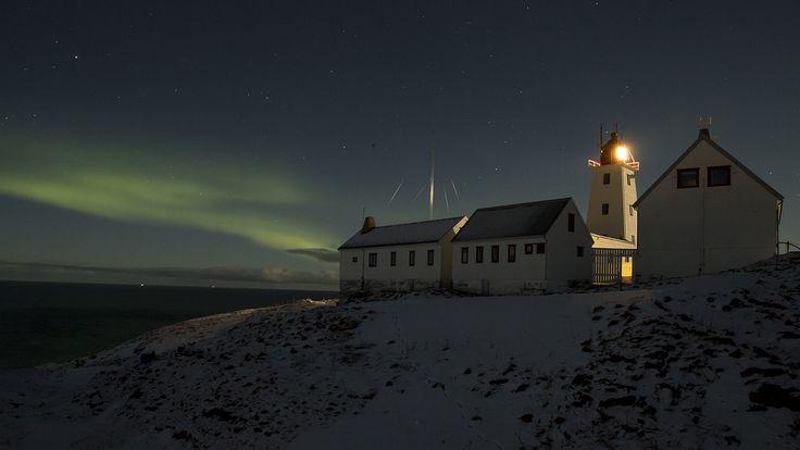 The lighthouse on Hornöya with aurora borealis