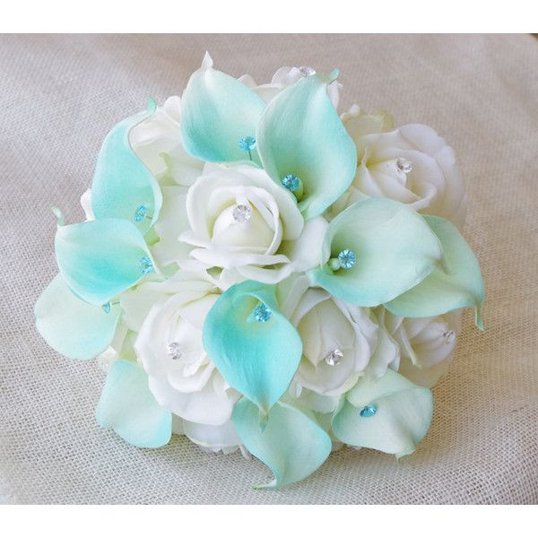 Silk Flower Wedding Bouquet Aqua Mint Blue Calla Lilies and Roses... ($105) ❤ liked on Polyvore featuring home, home decor, floral decor, aqua, bouquets, decorations, weddings, rose bouquets, blue rose bouquet and calla lily bouquet