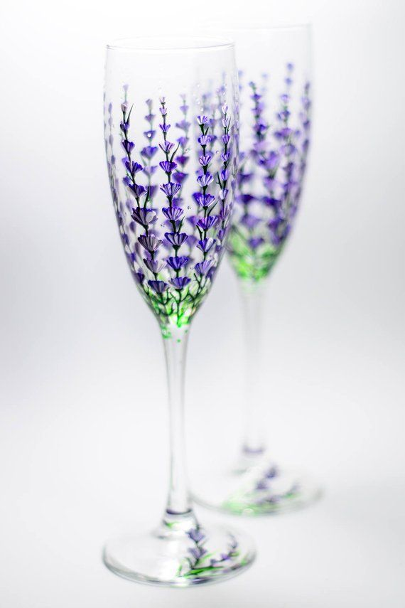 5353cc1cff7 Personalized Champagne Flutes Lavender Wedding Glasses Hand Painted  Champagne Flutes Set of 2 Weddin