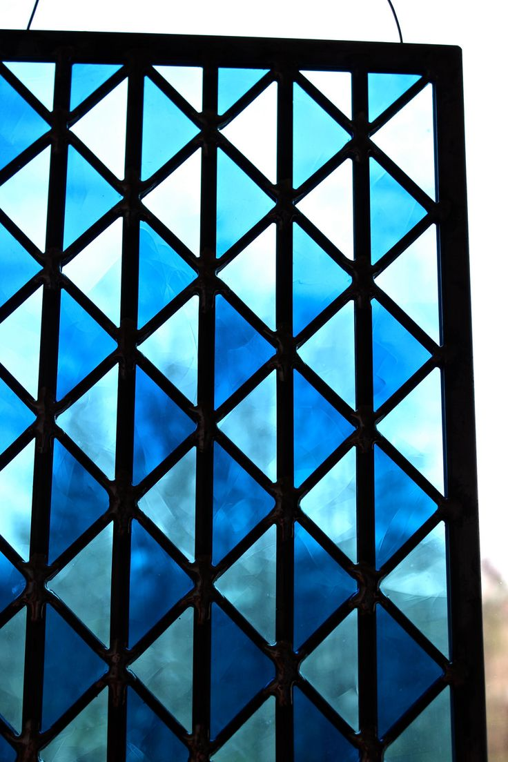 Geometric Triangle Stained Glass Window Panel in Blue ...