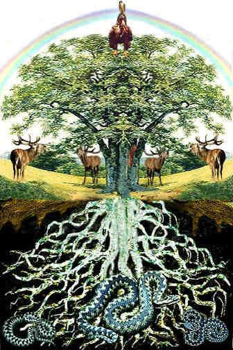 Celtic Tree of Life '...branches reach high into the heavens. Their roots dig deep into the Earth. Yet all are woven together, signifying the connection between all things in the Heavens and the Earth' .. Read Original Here: The Sacred Celtic Tree of Life : Fantasy-Ireland http://www.fantasy-ireland.com/Celtic-tree-of-life.html#ixzz2VIETmx2Y  Under Creative Commons License: Attribution Share Alike