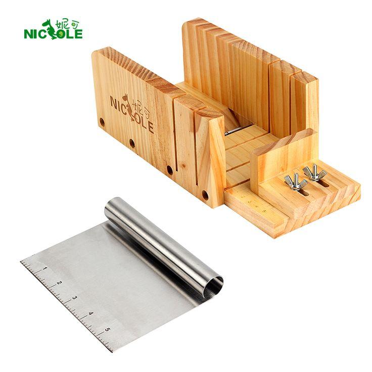 Nicole Soap Narzędzia tnące Zestaw 2 Regulowana Wood Loaf & Metal Box Cutter ostrze tnące Soap Making Supplies