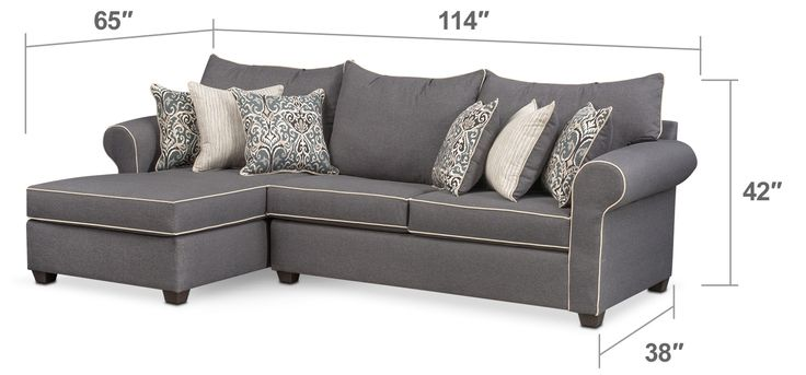 Rest Easy. With a blend of contemporary colors and traditional, decorative accents, the Carla sectional brings a timeless aesthetic to any home. Roll arms and contrast piping deliver classic style, while accent pillows complete the setting, adding an extra layer of comfort. Two-piece sectional includes left-facing chaise and right-facing loveseat, as shown.
