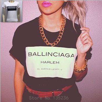 New Fashion Brand Women T shirts with printed Ballinciaga Women Short Sleeve T-shirt Cotton Tops Street Tees S/M/L http://tinyurl.com/ngzy4ue #womenfashion #top #tshirt #fashiontshirt #ballinciaga