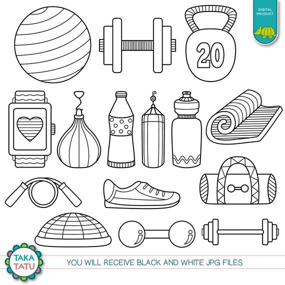 Workout Time Digital Stamp Pack Black And White Gym Clipart Gym Stamps Workout Clipart Exercise Diet Health Clipart Workout Digital Stamps Bullet Journal Doodles Stamp