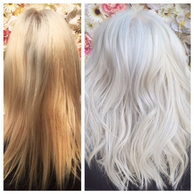 Ready For A Change, Ready For The Challenge  Step 4: Tone over all blonde with part 2 Olaplex + Pravana Silver for 10 minutes.