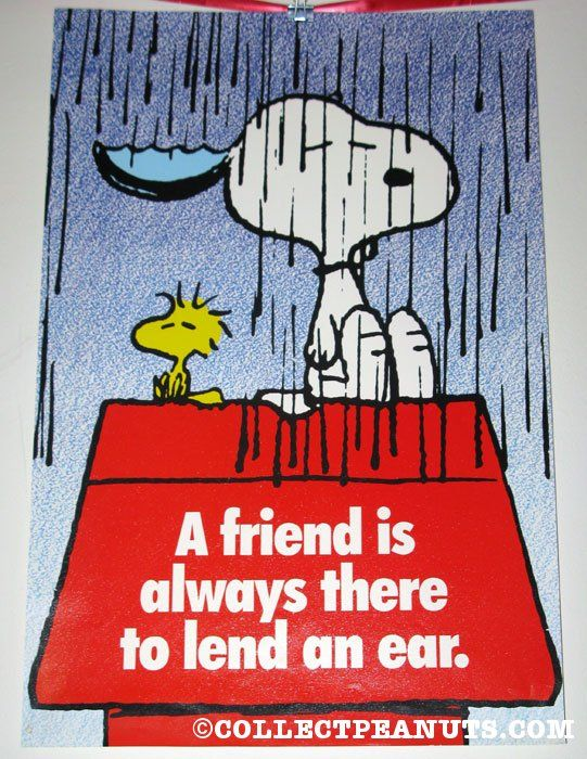Snoopy & Woodstock in the rain. A friend is always there to lend an ear' Poster