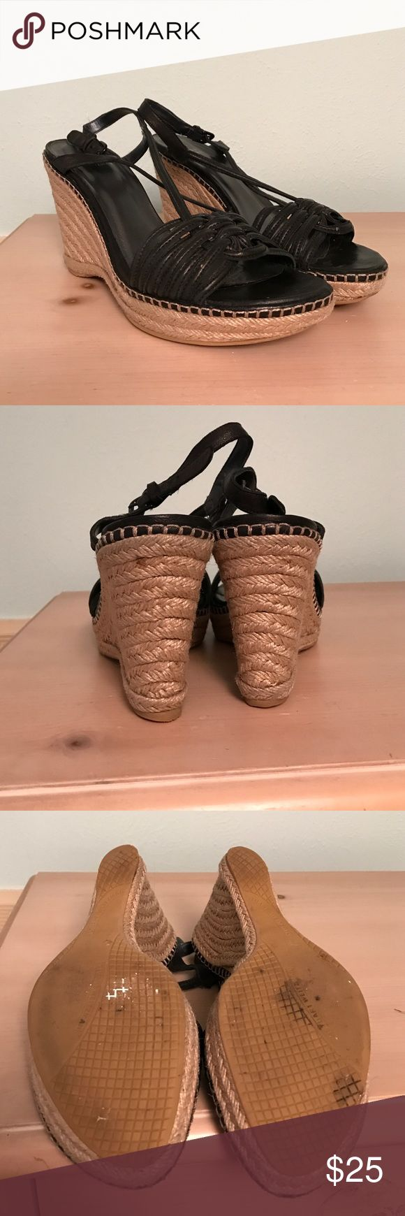 Stuart Weitzman Wedges Has some wear- the inside is coming up a little but can be glued down or taken to a shoe-maker and fixed. Made in Spain Stuart Weitzman Shoes Wedges