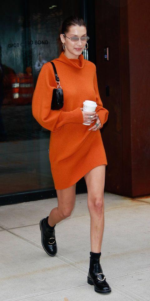 adf2505eb6 Bella Hadid served up pumpkin-spice-latte vibes in an orange