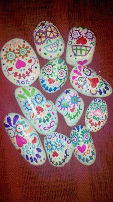 Day of the Dead Sugar Skulls (on rocks)