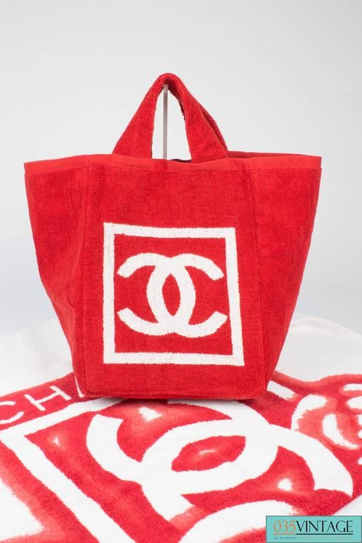 Chanel Beach Bag and Towel - red/white terry cloth