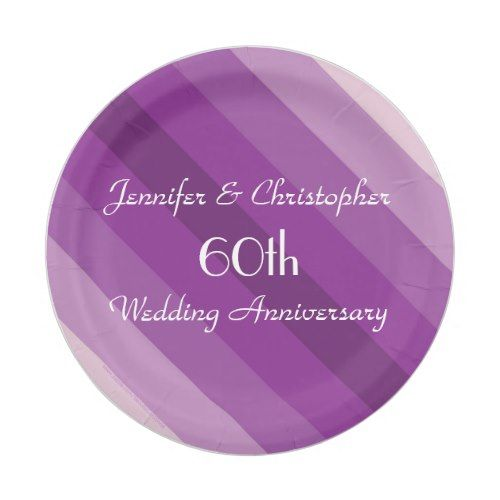Purple Striped Plates, 60th Wedding Anniversary Paper Plate