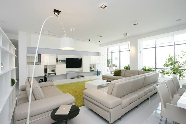 Apartments:Glowing White Interior Design Ideas With Modern Flooring Lamp White Modern Sofas Open Shelves Modern Dining Table Chairs Also Yellowish Green Carpet For Modern Apartment Living Room Ideas Also Modern Living Room Ideas Glowing white Interior Design Ideas for Modern Apartment Living Room Ideas