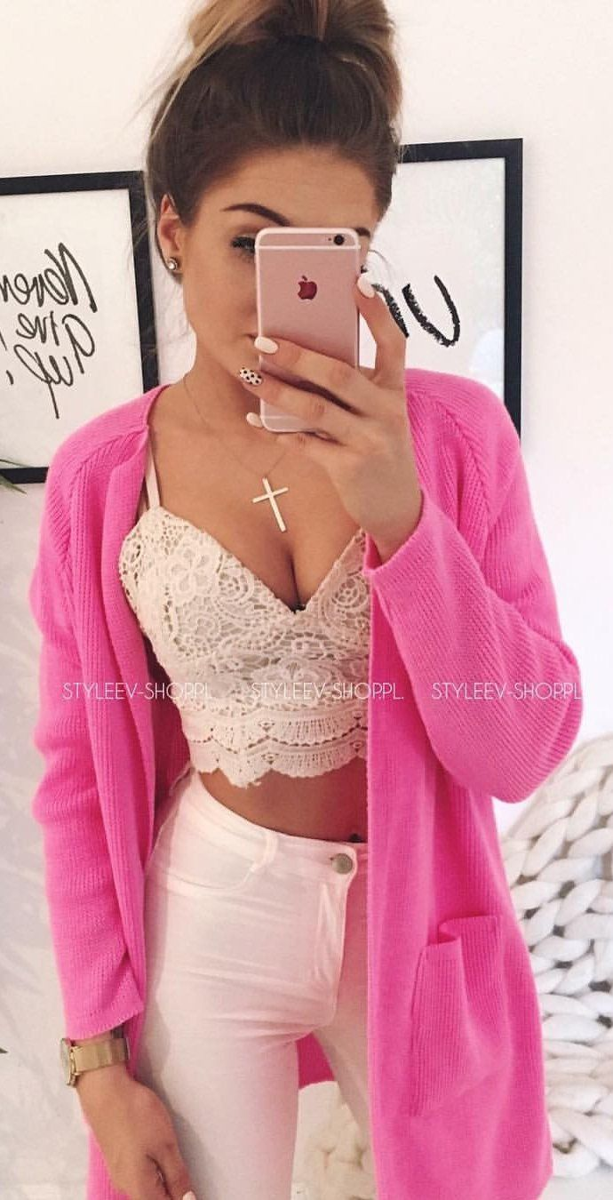 #summer #outfits Pink Cardigan + White Crochet Lace Crop + White Skinny Jeans