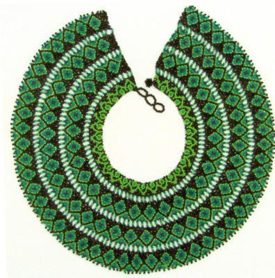 A brilliant green beaded necklace by Flor Maria Cartuche Andrade of Ecuador's La Mega Cooperative.