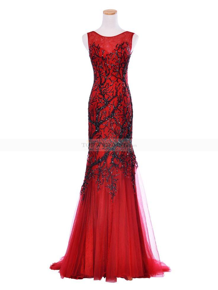 Красный русалка тюль и кружева u-образным вырезом безрукавный вечерние платья с блестками