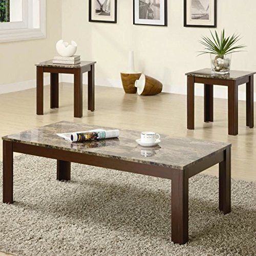 Marble Coffee Table Set 3 Piece Modern Furniture Living Room Home Decor Faux New