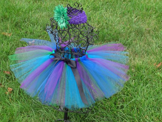 Girls Peacock Tutu- Blue, Purple, Green, Black, Tutu- Peacock costume, Baby Peacock Costume, Animal Tutu
