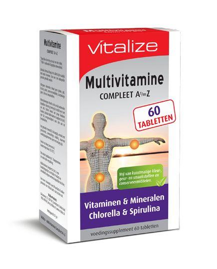 Vitalize Multivitamine 60 tabletten  Multivitamine Inhoud: 60 tabletten Gebruik: 1 tablet per dag BESCHRIJVING VAN DE STOFFEN Vitamine A draagt onder andere bij: - aan de normale werking van het hart - tot de instandhouding van normale slijmvliezen huid gezichtsvermogen en het immuunsysteem. Vitamine B1 draagt onder andere bij tot: - de normale werking van het hart en het zenuwstelsel - een normale psychologische functie. Vitamine B2 draagt onder andere bij tot: - de normale werking van het…