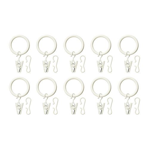 To go with the new-sew curtains I am attempting... SYRLIG Curtain ring with clip and hook IKEA You can hang your curtains with either combination - rings with clips or rings with hooks.