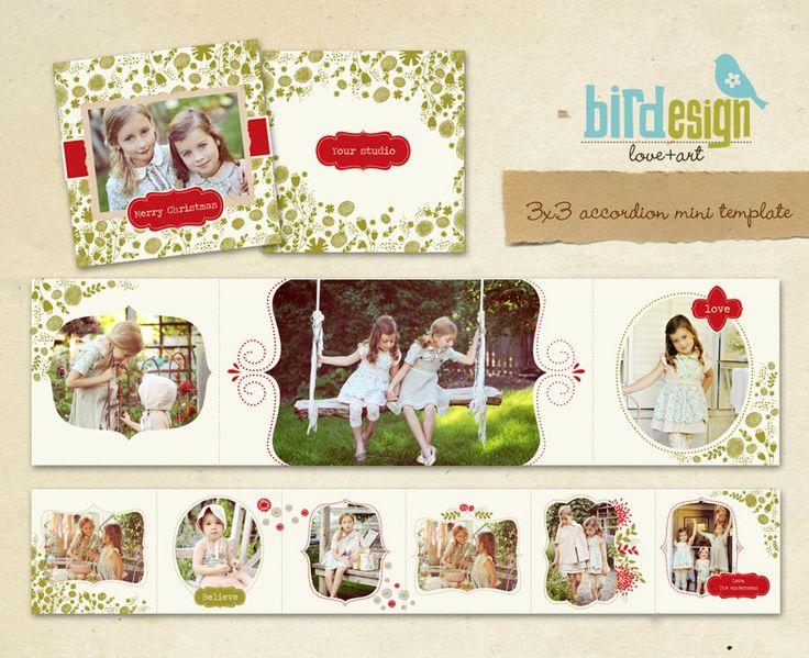 INSTANT DOWNLOAD Accordion mini template 3x3 Merry por birdesign