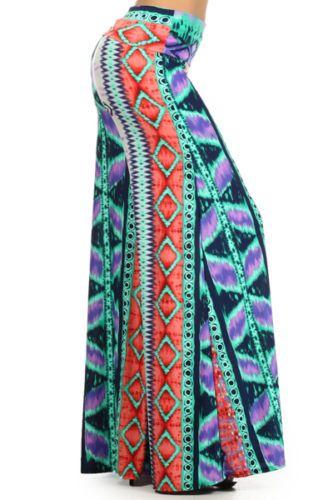 Lycra New Blue Fold Waist Wide Leg Palazzo Pants Size Large Made USA | eBay