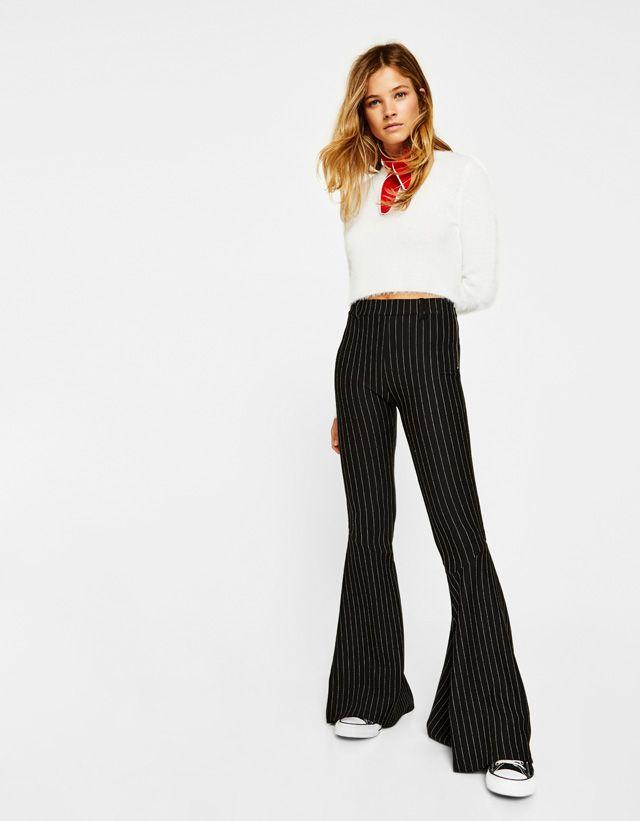 Bershka United Arab Emirates - Slim flared trousers with maxi ruffles