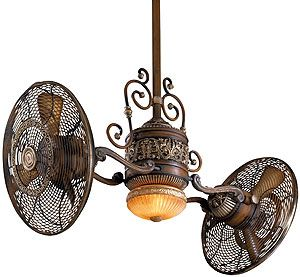 Traditional Gyro Twin Ceiling Fan In Belcaro Walnut Finish | House of Antique Hardware