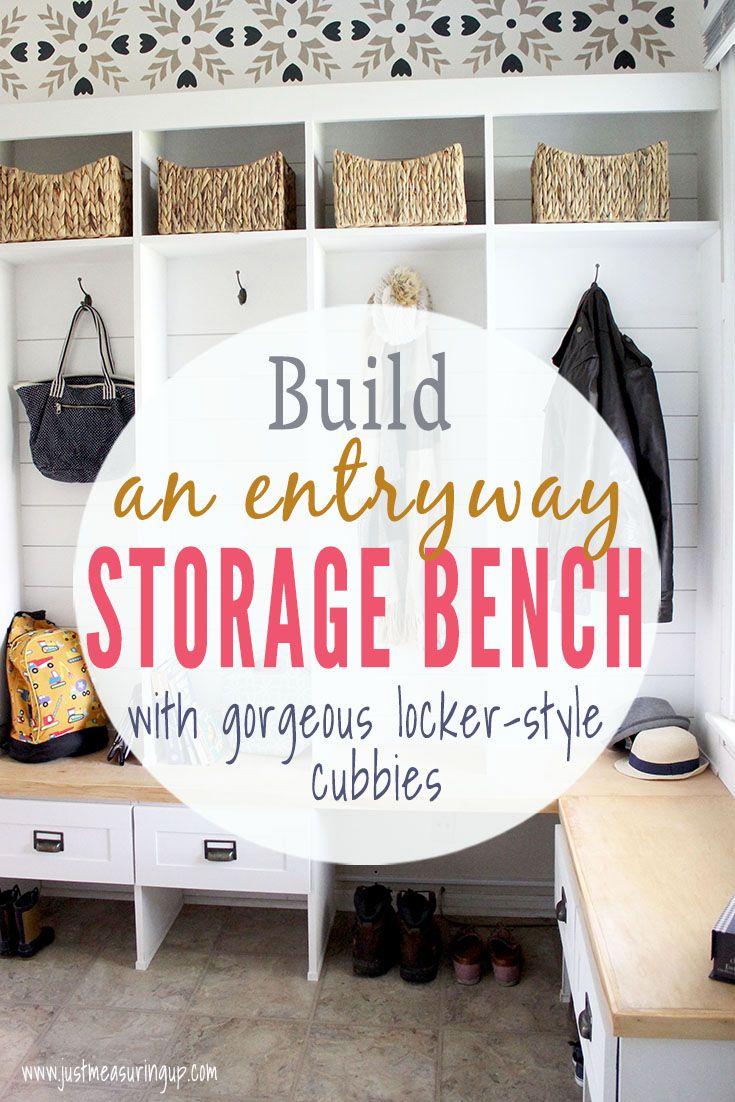 Need A Hall Tree In Your Entryway Build This L Shaped Storage Bench With Locker Style Cubbies Easy Tutorial Perfect Organizational Piece