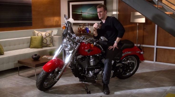 Harley-Davidson Fat Boy motorcycle riden by James Van Der Beek in DON'T TRUST THE B---- IN APARTMENT 23: MEAN GIRLS (2013) @harleydavidson