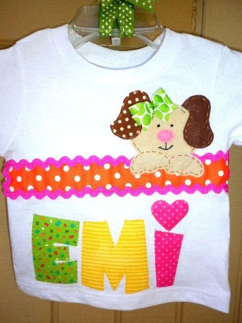 Toddler girl tshirt with cute puppy applique. Birthday girl tshirt.
