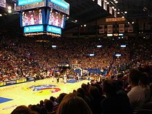 Inside Allen Fieldhouse, on James Naismith Court