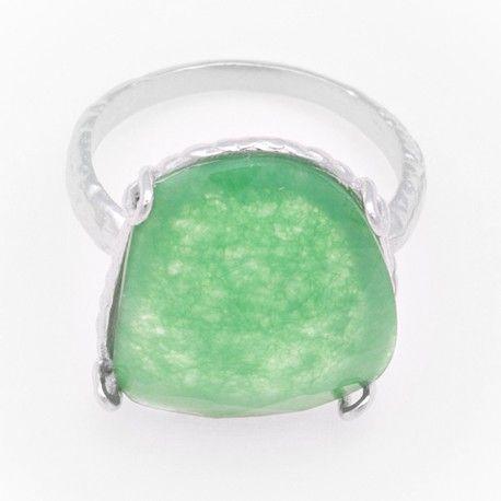 Sortija en plata rodiada y jade esmeralda 17 x 15 mm.  ¡Sólo 19€!   #Plata #Silver #Joyas #Jewelry