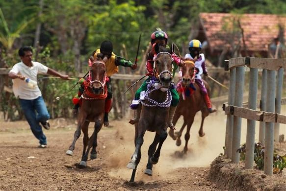 Child jockeys race their horses as a spectator runs beside them during the final race at the Panda horse field, on the outskirts of the town of Bima, Indonesia, November 17, 2012.  REUTERS/Beawiharta