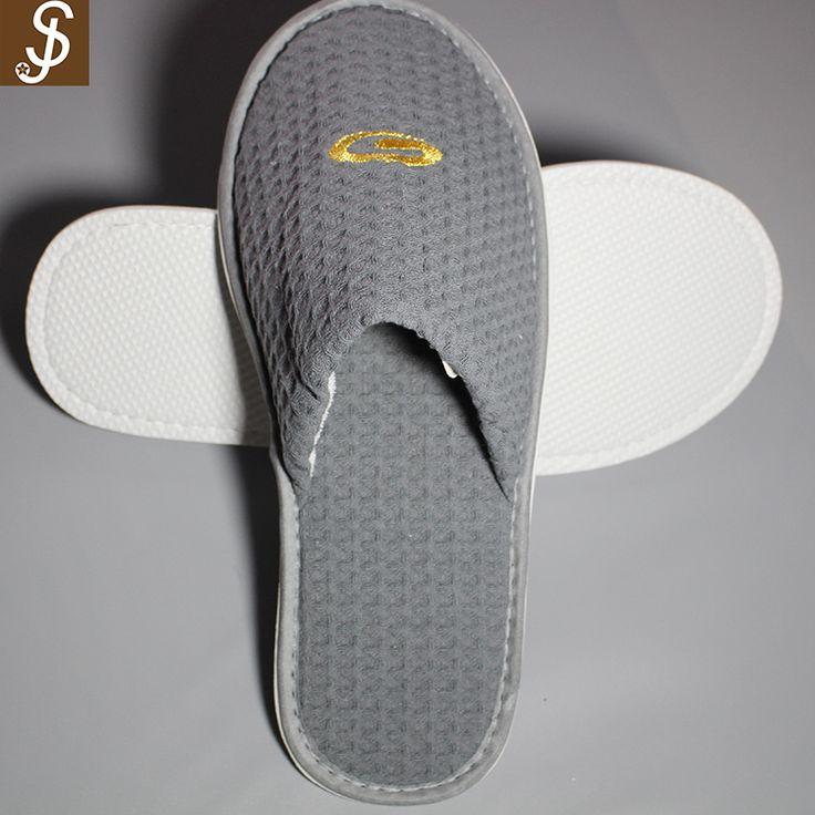 S&J Dark gray professional cotton open the toe eva hotel slippers