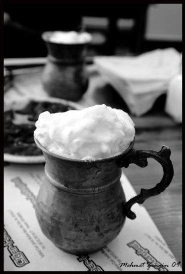 Yogurt, water and salt mixed to make an extremely refreshing Ayran.