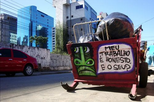 """Brazil pimps out Trash Carts: This cart says, """"My work is honest, and yours?"""""""