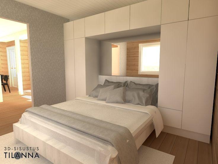 Uuden hirsihuvilan 3D-sisustussuunnittelu/ makuuhuone, valkoiset kiintokalusteet, sänky kaapiston keskellä syvennyksessä/ 3D-sisustus Tilanna