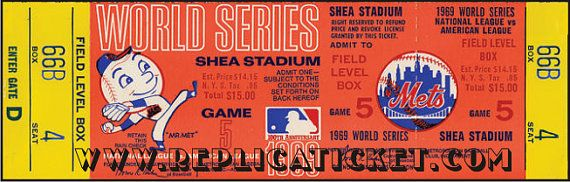 Five 1969 World Series Baseball Miracle Mets games 1-5 unused paper replica tickets Collect, Scrapbook, made in the USA