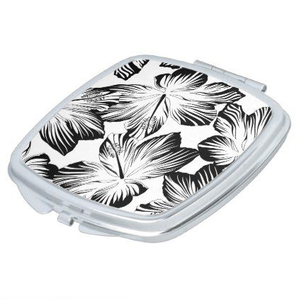 Black and white hibiscus makeup mirror - pattern sample design template diy cyo customize