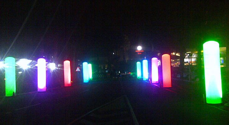 Glo-Rods stand 3m tall with LED colour-shift light in the base (DMX programmable - individually or sequenced).
