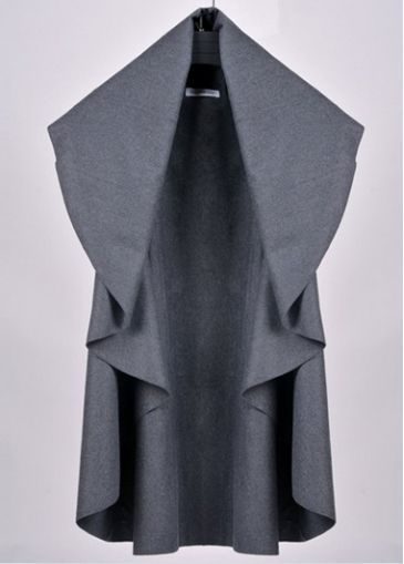 Enchanting Deep Grey Turndown Collar Sleeveless Trench Coat