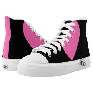 Hot pink & black High-Top Sneakers Step out of the box in a pair of unique custom sneakers! Each pair of custom High Top ZIPZ® shoes is designed so that any ZIPZ® top can be matched with a sole of the corresponding size, meaning you can change your style as often as you'd like to match any mood, occasion, or outfit. A fresh look at sneakers, ZIPZ® shoes give you a one-of-a-kind way to express yourself! #zazzle #Lynnrosedesigns