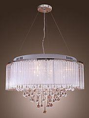 BUCKS - Kroonluchter van Kristal met Stoffen Lampenkap met 8 Lampen