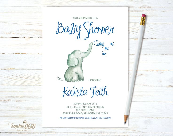 Shower the baby boy with a watercolor invite just click www.sophie0610designs.etsy.com  Printable baby shower invitation, Watercolor elephant with bubbles, digital file by Sophie0610Designs on Etsy
