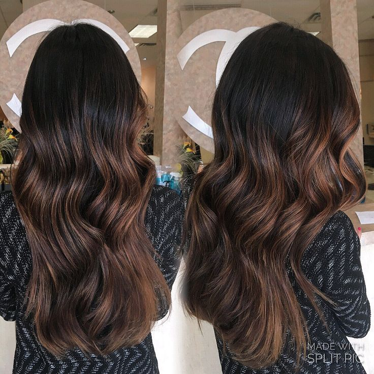 Long hair layers dark root sombre balayage hand painted brown caramel highlights…