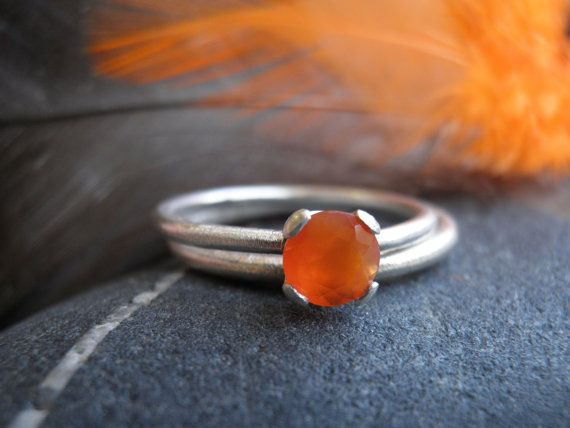 Engagement Carnelian Rings Set, Stacking Rings, Vintage Inspired Classic orange Rings set, Sterling Silver Rings, Bridal Jewelry on Etsy, $120.00
