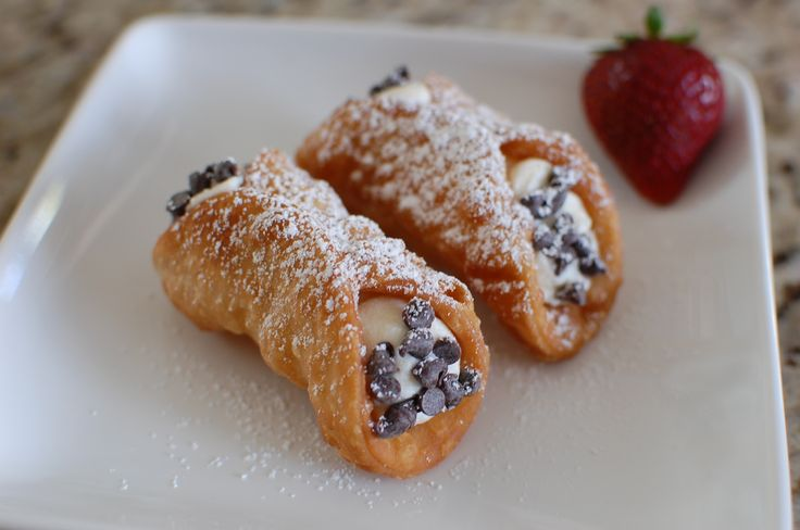 Home made cannoli tubes and filling