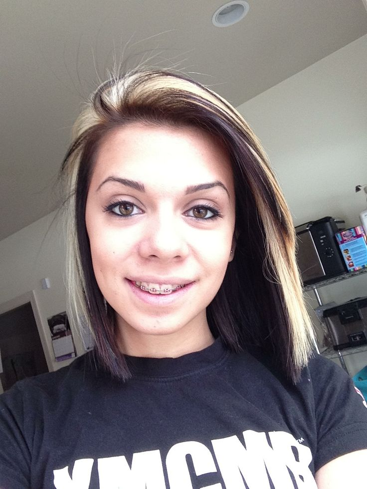 My new hairr! Blonde on the top middle section and my natural brown underneath